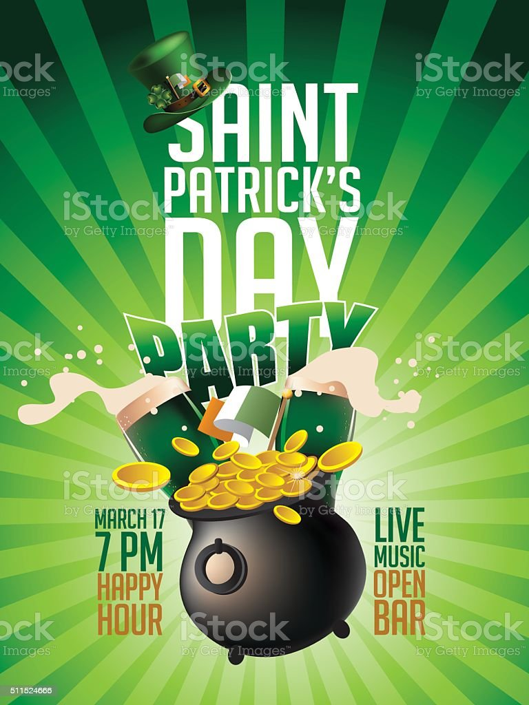 st patricks day green beer party invitation poster stock vector art