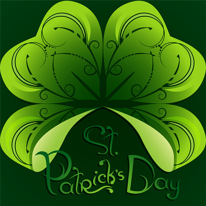 St. Patrick's Day greeting card or background with clover leaf and cute hand drawn lettering on dark green backdrop
