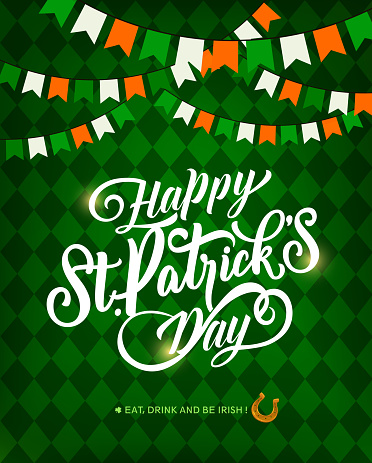St. Patricks Day greeting card with horseshoe