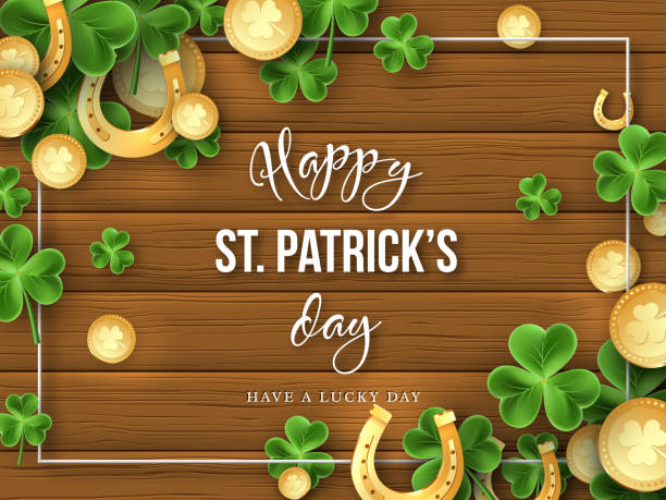 St. Patricks Day greeting holiday design. St. Patricks Day background. Clover leaves, golden horseshoes and coins on wooden texture for greeting holiday design. Vector illustration. good luck charm stock illustrations