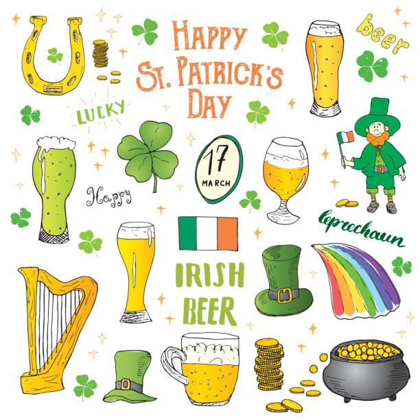 Vectores de Duende Irlandés Y Trébol Shamrock Del Tesoro y ...