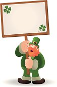 Vector illustration - St. Patrick's day: Happy Leprechaun Holding A Blank Sign.