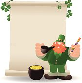 Vector illustration - St. Patrick's day: Happy Leprechaun Writing A List.