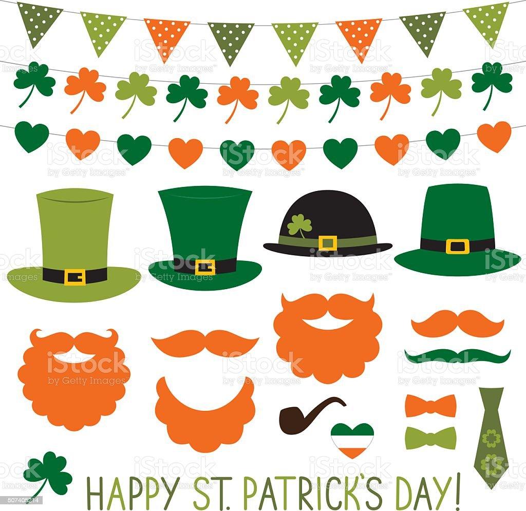 St. Patrick's Day hats and decoration set vector art illustration