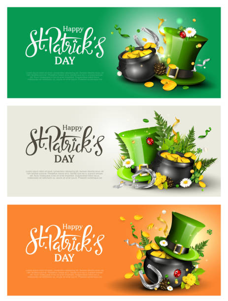 St. Patrick's Day headers or banners St. Patrick's Day modern headers or banners with Leprechaun`s hat, pot of gold, cloverleafs and balloons in the colors of Ireland. st patricks day stock illustrations