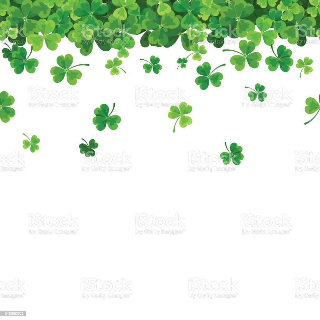 St. Patrick's day horizontal seamless background with shamrock. Vector illustration. vector art illustration