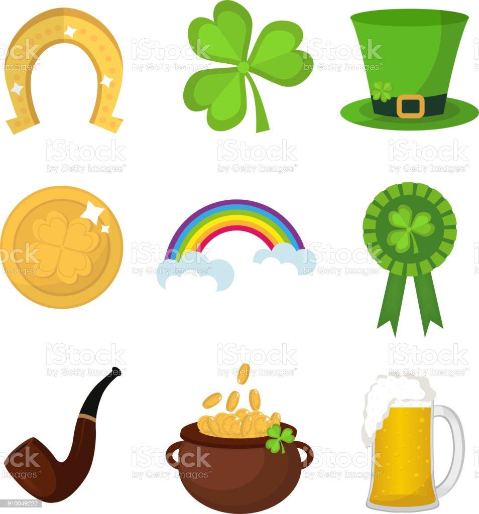 聖パトリックデー アイコンは、デザイン要素を設定します。モダンなフラット スタイルの伝統的なアイルランドのシンボル。白い背景上に分離。ベクトル イラスト、クリップアート。 ベクターアートイラスト