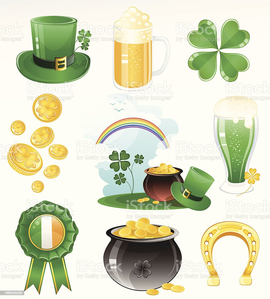 St. Patrick's Day Icon Set royalty-free st patricks day icon set stock vector art & more images of alcohol
