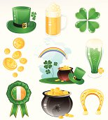 St. Patrick's Day vector icon set including, Leprechaun hat, horseshoe, pot of gold, four leaf clover, beer glass, rainbow, golden coins, Irish flag badge. AI 10 EPS file containing some transparency. AI CS6 version is also available in ZIP.