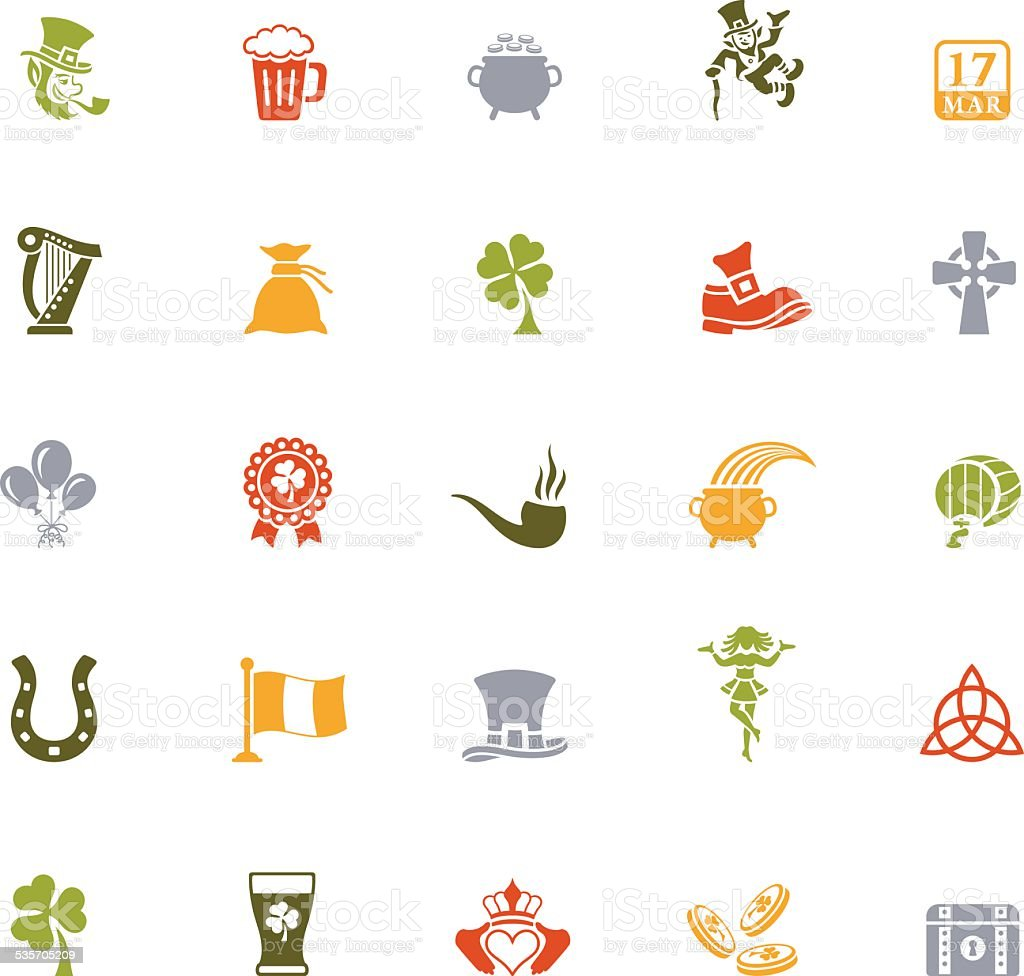 St. Patrick's Day Icon Set vector art illustration