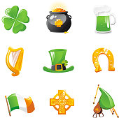 St Patrick's Day Icons Set, with four clover, golden pot, beer, harp, Irish top hat, horseshoe, Irish flag, Celtic Sign Pattern and Music Instrument, Begpipes, Uilleann Pipes, Irish Pipes. Vector Illustration Cartoon.
