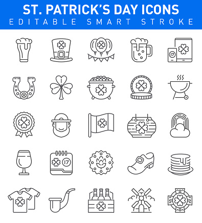 St. Patrick's Day Icons. Editable stroke Collection
