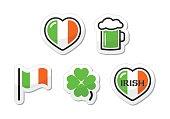 St Patricks Day icons - irish flag, clover, green beer