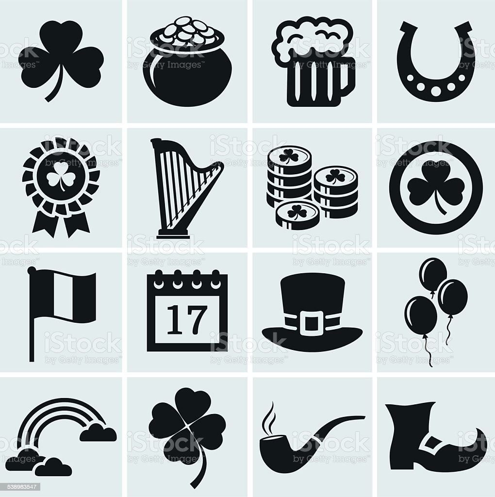 St. Patrick's Day icons set. Vector collection. vector art illustration