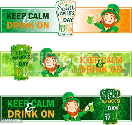 Promotional banner for celebrate St. Patrick's Day, leprechaun toast with green beer.