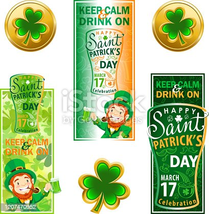 Promotional vertical banner for celebrate St. Patrick's Day, leprechaun toast with green beer.