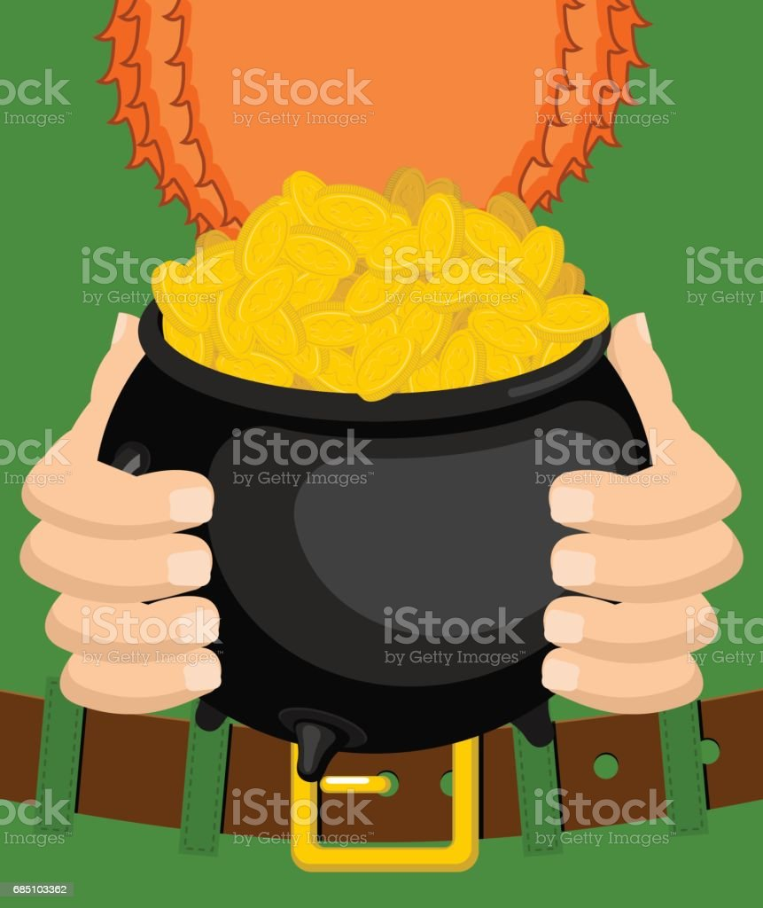 St. Patrick's Day. Leprechaun and pot of gold. Magic dwarf and boiler of golden coins. National Holiday in Ireland. Traditional Irish Festival royalty-free st patricks day leprechaun and pot of gold magic dwarf and boiler of golden coins national holiday in ireland traditional irish festival stock vector art & more images of abundance