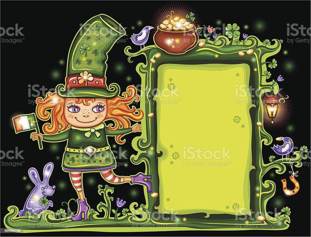 St. Patrick's Day  Leprechaun, floral,  frame royalty-free stock vector art