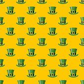 St. Patrick's Day Leprechaun Hat Seamless Pattern