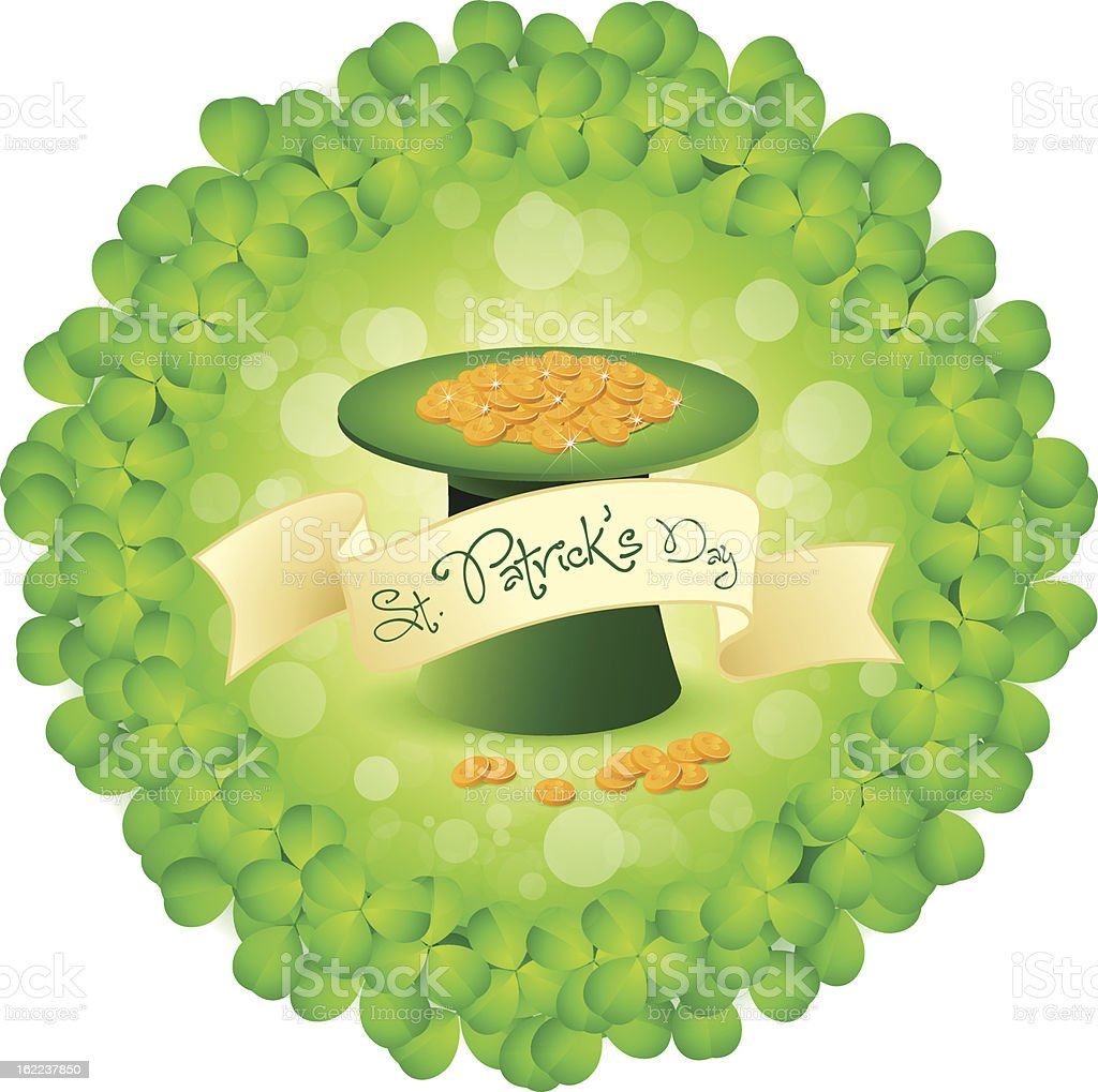 St. Patricks Day Leprechaun Hat with Gold Coins royalty-free st patricks day leprechaun hat with gold coins stock vector art & more images of awe