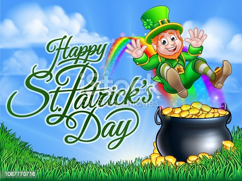 Happy St Patricks Day background with a leprechaun cartoon character sliding down to a pot of gold at the end of the rainbow.