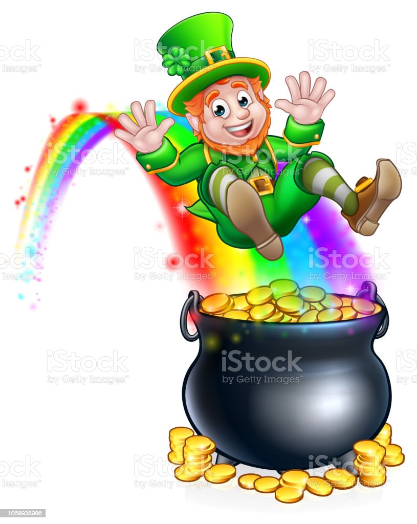 St Patricks Day Leprechaun Rainbow Pot of Gold vector art illustration