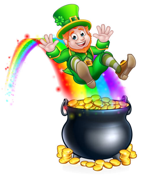 St. Patricks Day Kobold Rainbow Topf voll Gold – Vektorgrafik