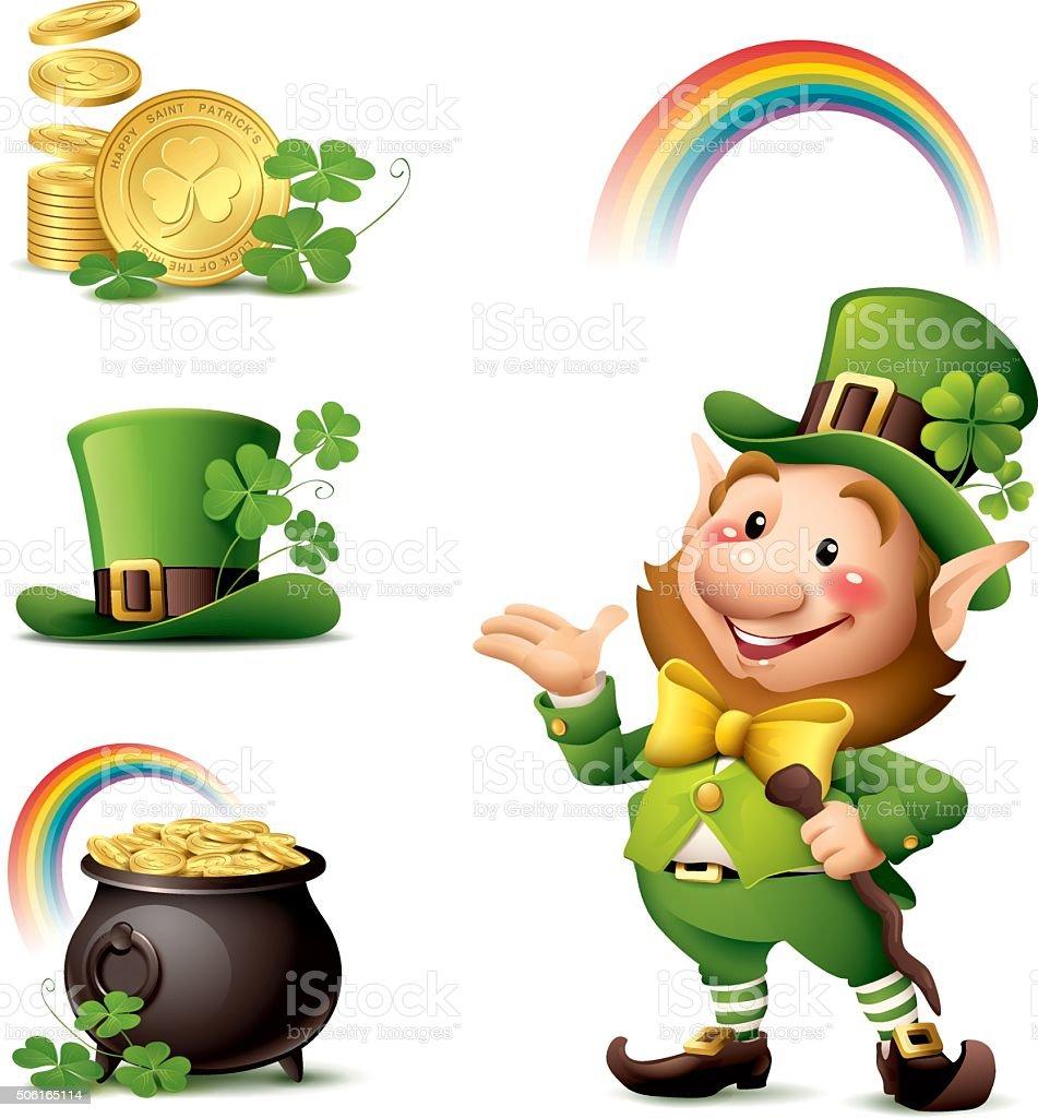 St Patrick's Day - Leprechaun set vector art illustration