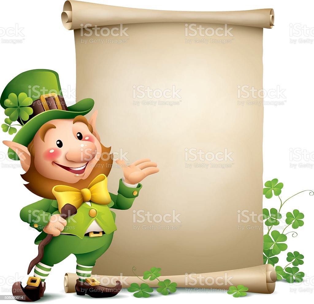 st patricks day leprechaun with paper scroll stock vector art