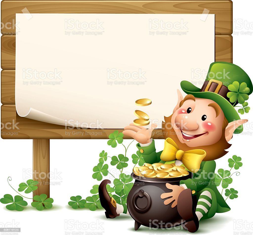 st patricks day leprechaun with wooden sign stock vector art