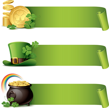 St Patrick's Day - paper curl banner set