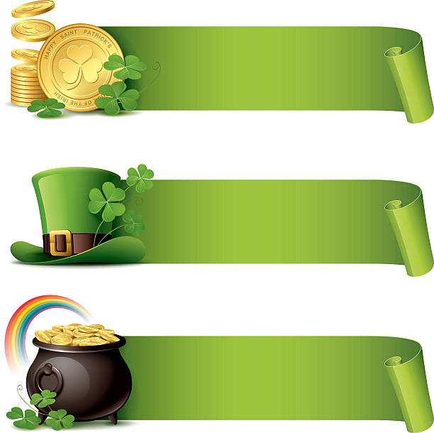 st patrick's day - paper curl banner set - st patricks day stock illustrations