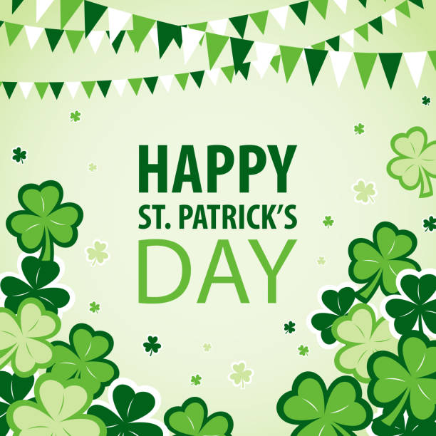stockillustraties, clipart, cartoons en iconen met st patrick's day parade and celebration - westers schrift