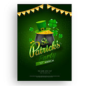 St. Patrick's Day party invitation card design, illustration of traditional coin pot with time, date and venue details.