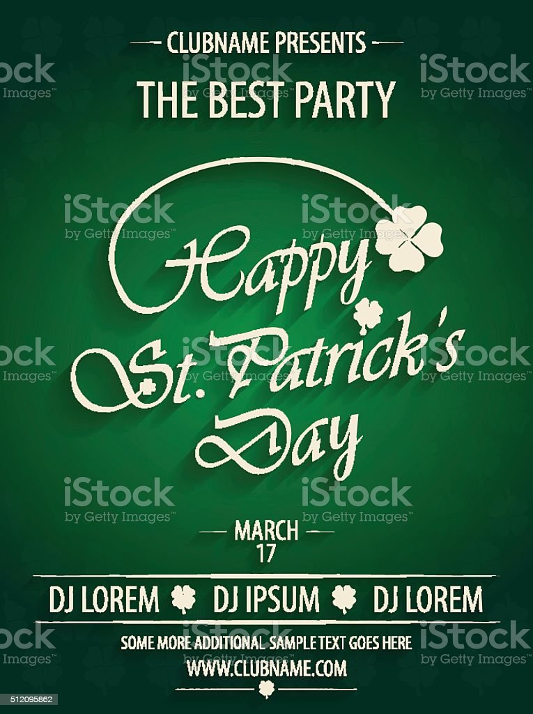 St Patricks Day Party Invitation Poster On Green Background stock ...