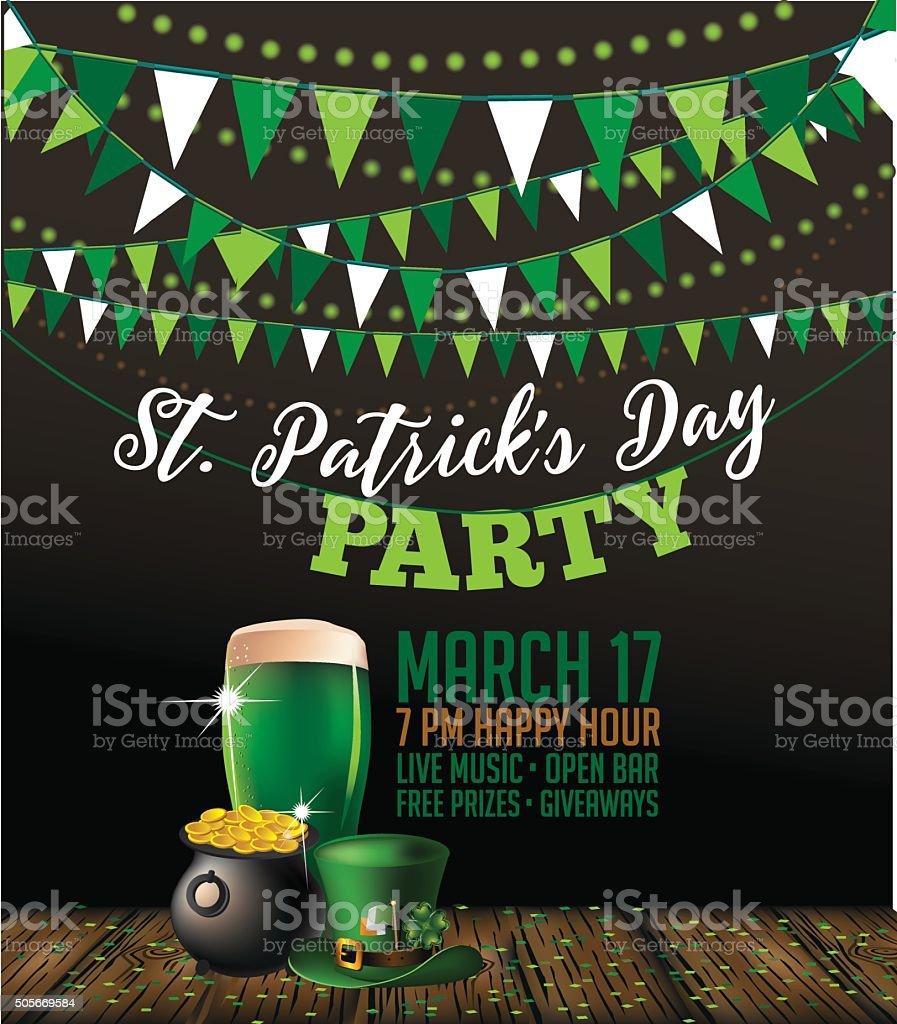 St. Patrick's Day party invitation poster vector art illustration
