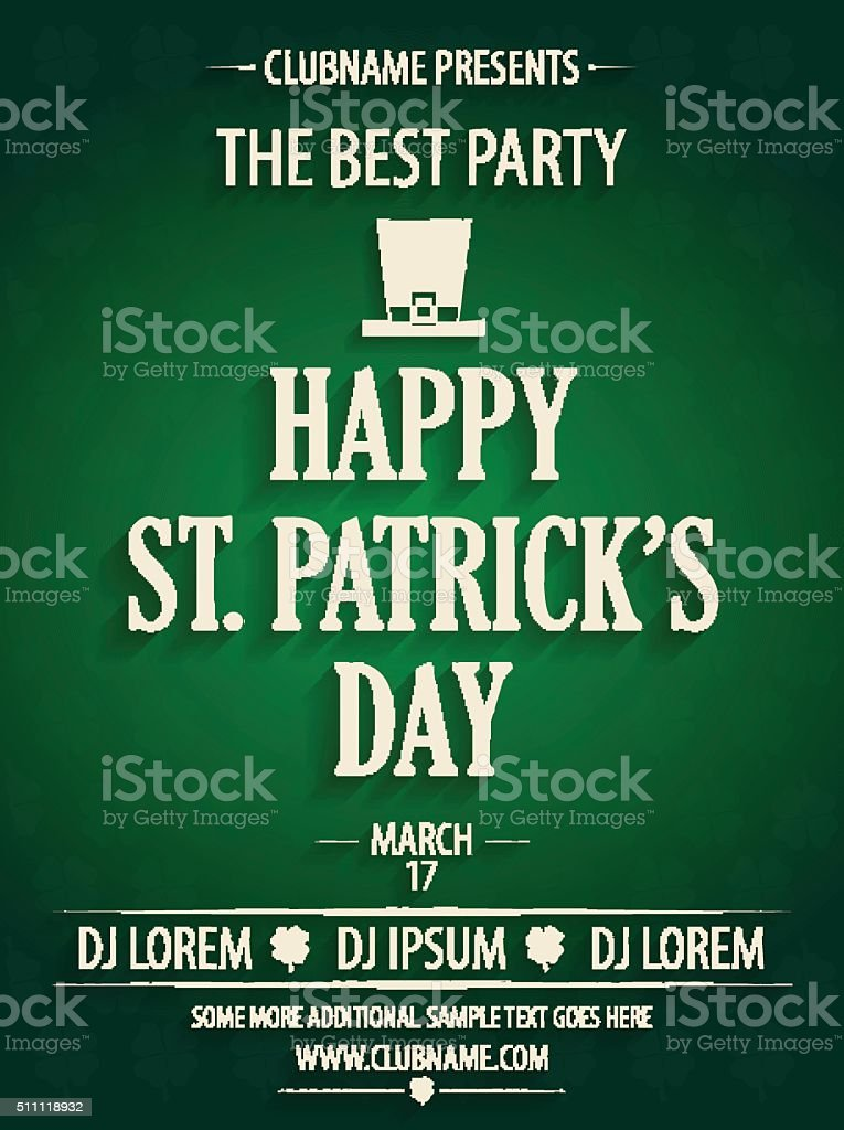 St Patricks Day Party Invitation With Hat stock vector art ...