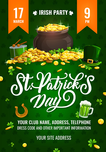 St. Patricks Day party vector flyer cartoon poster