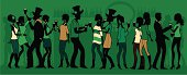 A group of people celebrating St Patrick's Day. All characters are on separate layers for easy editing. See below for this file in a silhouetted version.