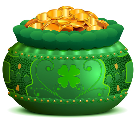 St patricks day pot full of gold coin