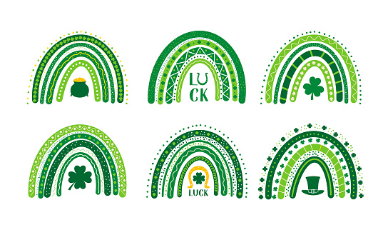 St. Patrick's day rainbow. Set of 6 hand drawn cute boho rainbow.  Saint Patricks day clipart. Vector template for banner, poster, greeting card, flyer, postcard, sticker, clothes, etc.