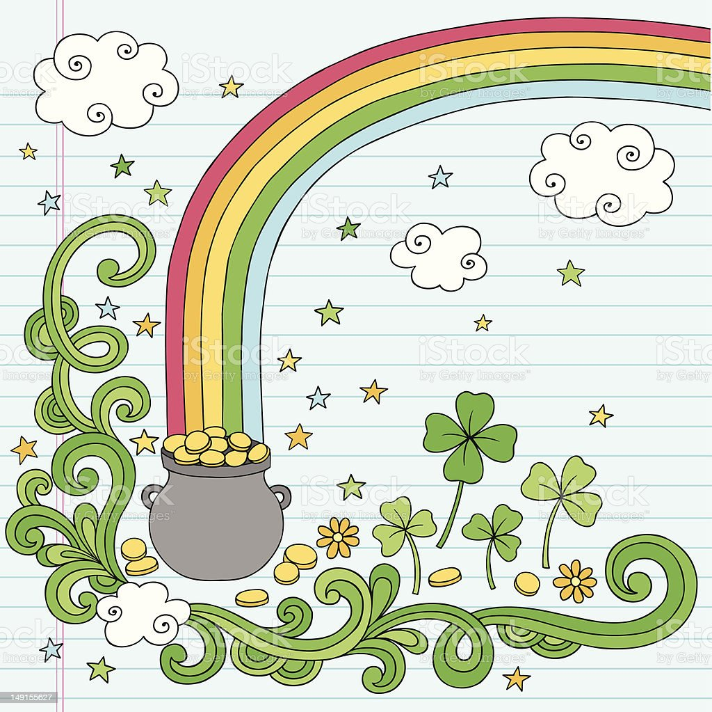 st patricks day rainbows end pot of gold doodle vector stock
