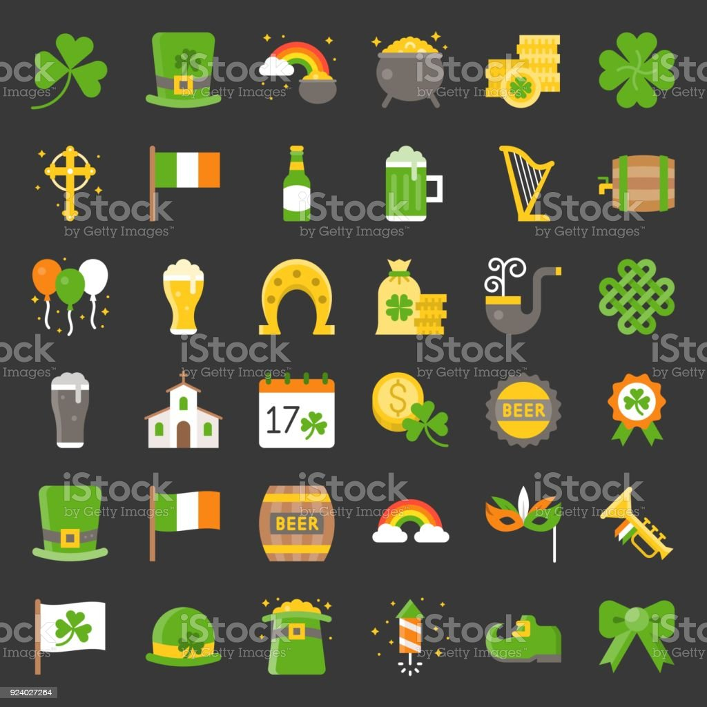 St patrick`s day related icon, flat design
