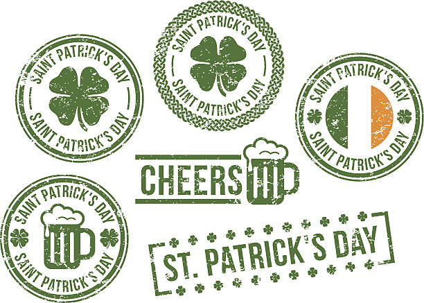 St. Patrick's Day - rubber stamps St. Patrick's Day - rubber stamps. shamrock stock illustrations