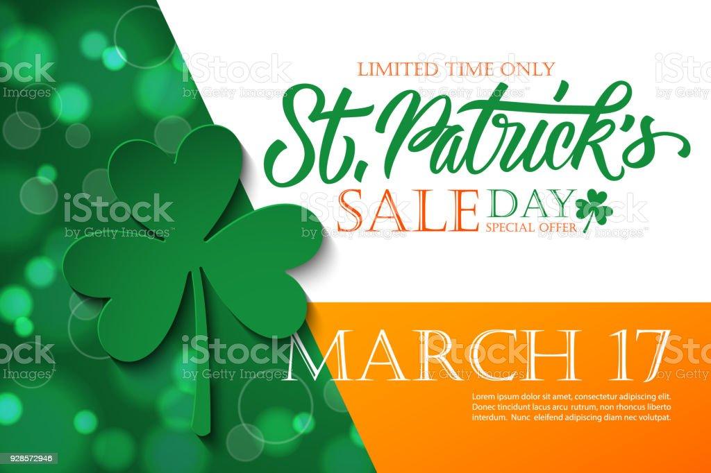 聖パトリックの日セールのバナーです。アイルランド国民の祝日特別オファーの背景に手レタリング、休日のショッピングのための 4 つ葉のクローバー。 ベクターアートイラスト