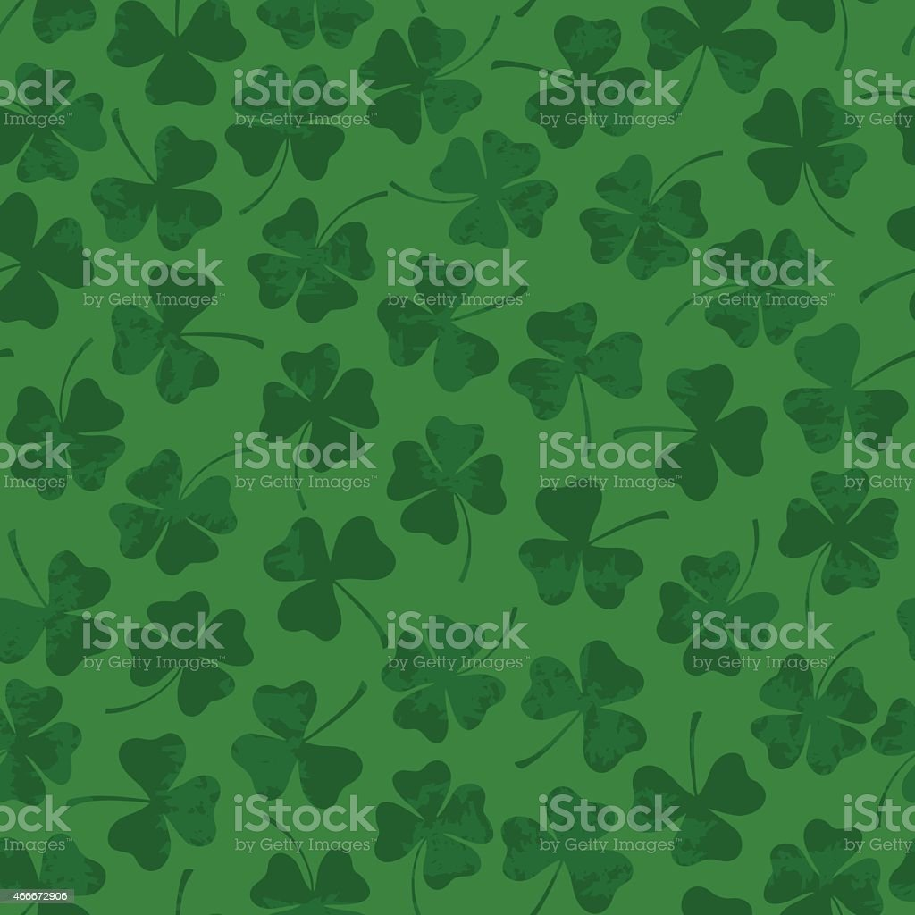 St. Patrick's day seamless pattern with clover vector art illustration