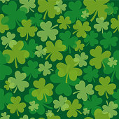 St. Patrick's day seamless pattern with clover - Illustration