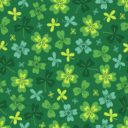 St. Patrick's Day seamless pattern with colorful clovers