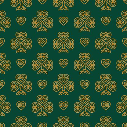 St. Patrick's day seamless pattern with Golden Shamrock.