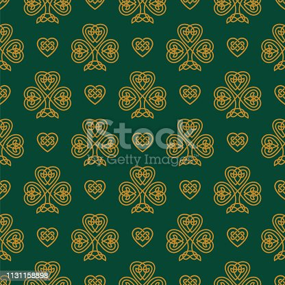 istock St. Patrick's day seamless pattern with Golden Shamrock. 1131158898